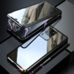 LUPHIE Magnetic Installation Metal Frame + Tempered Glass Phone Cover for Samsung Galaxy S20 Ultra – Black