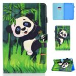 Pattern Printing Leather Card Holder Tablet Shell for Samsung Galaxy Tab S6 Lite – Panda and Bamboo