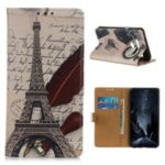Pattern Printing Wallet Leather Magnetic Shell for LG K41S – ffel Tower and Quill-pen