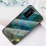 Marble Texture Tempered Glass + PC + TPU Hybrid Shell for Huawei P40 Pro – Emerald