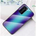 Carbon Fiber Skin Tempered Glass + PC + TPU Case Covering for Huawei P40 Pro – Blue