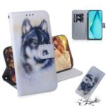 Pattern Printing PU Leather Wallet Case for Huawei P40 lite/nova 7i/nova 6 SE – Black and White Wolf