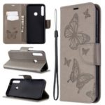 Imprint Butterfly Leather Wallet Case for Huawei P40 lite E / Y7p – Grey