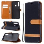 Assorted Color Jeans Cloth Leather Wallet Stand Case for Huawei P40 lite E / Y7p – Black