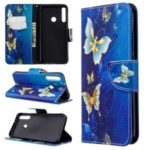 Pattern Printing Leather Wallet Case for Huawei P40 lite E / Y7p – Gold Butterflies