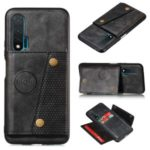 Kickstand Card Holder Leather Coated TPU Case Shell [Built-in Vehicle Magnetic Sheet] for Huawei nova 6 4G Version – Black
