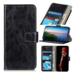 Crazy Horse Wallet Leather Stand Cover Case for Motorola Moto E7 – Black