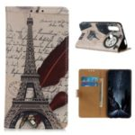 Pattern Printing Leather Phone Protective Case for Motorola Moto G Power – Eiffel Tower and Quill-pen