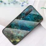 Marble Texture Tempered Glass + PC + TPU Hybrid Case for Xiaomi Mi 10 – Emerald
