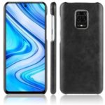 Litchi Skin Leather Coated PC Back Phone Shell for Xiaomi Redmi Note 9S/9 Pro/9 Pro Max – Black
