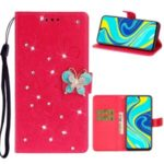Imprint Flower Butterfly Rhinestone Leather Wallet Case for Xiaomi Redmi Note 9 Pro – Rose