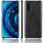 Litchi Skin Leather Coated PC Back Phone Shell for Oppo Find X2 – Black