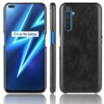 Litchi Texture PU Leather Coated Hard PC Cover for Realme X50 Pro 5G – Black