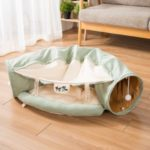 Cat Tunnel Pet Toy Universal Cat Toy Callout Paper Folded Cat Tunnel – Green