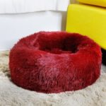 Dog Cat Soft Plush Round Pet Bed Donut Cuddler Bed Diameter 50cm Size M – Wine Red