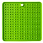 Square Pattern Pet Dog Puppy Slow Feeder Food Bowl Anti-Choking Feeding Silicone Dish Plate – Green