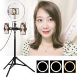 PULUZ 1.65m Tripod Mount + Dual Phone Brackets + 10.2 inch 26cm USB 3 Modes Dimmable Dual Color Temperature Ring Vlogging Video Light Kits with Phone Clamp