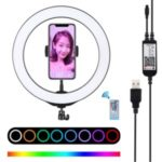 PULUZ 10.2″ 26cm RGBW Dimmable LED Ring Photo Light with Remote Control & Mobile Phone Clip PU430B