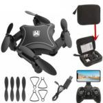 902 Folding Drone Quadcopter WiFi APP Control Altitude Hold RC Aircraft (4K Camera) – Black