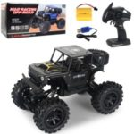 Children's Wireless Remote Control Alloy Car Electric 2.4G 1:14 Four-Wheel Drive Climbing Off-Road Toy Car with Lights – Black
