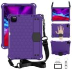 Honeycomb Skin EVA Tablet Case with Shoulder Strap for iPad Pro 11-inch (2020)/(2018) – Purple / Black