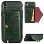 Crocodile Texture Card Holder PU Leather Coated TPU Case for Apple iPhone X/XS – Green
