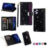 Glittery Starry Style Laser Carving Zipper Wallet Stand Leather Shell for iPhone 11 Pro 5.8 inch – Black