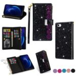 Glittery Starry Style Laser Carving Zipper Wallet Stand Leather Phone Shell for iPhone SE (2nd Generation)/8/7 – Black