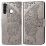 Imprint Butterfly Flip Leather Wallet Phone Cover for Samsung Galaxy A21 – Grey