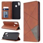 Geometric Pattern Auto-absorbed Leather Cover with Card Slots for Samsung Galaxy A11 / M11 – Coffee