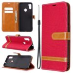 Assorted Color Jeans Cloth Leather Wallet Stand Case for Samsung Galaxy A11 / M11 – Red