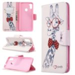 Pattern Printing Stand Leather Wallet Cover for Samsung Galaxy A11/M11 – Adorable Giraffe Wearing Glasses