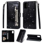Glitter Powder Zippered Leather Wallet Stand  Case with Strap for Samsung Galaxy A91/S10 Lite – Black