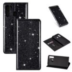 Flash Powder Auto-absorbed Leather Card Slot Protective Shell for Samsung Galaxy A21 – Black