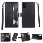 With Wallet Zippered Leather Phone Case for Samsung Galaxy A41 (Global Version) – Black