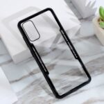 Clear PC Back + Silicone Frame Phone Cover Shell for Samsung Galaxy S20 – Black