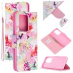 Pattern Printing Cross Texture Leather Wallet Case for Samsung Galaxy S20 Ultra – Vivid Flowers