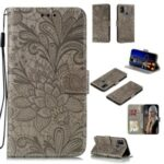 Imprint Lace Flower Leather with Wallet Casing for Samsung Galaxy M31 – Brown