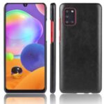 Litchi Surface Leather Coated Hard PC Shell for Samsung Galaxy A31 – Black