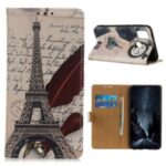 Pattern Printing Leather Phone Cover Protective Case for Samsung Galaxy A21s – Eiffel Tower
