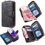 BF001 Detachable 2-in-1 Leather Cover Zipper Wallet Phone Case for Samsung Galaxy S20 – Black