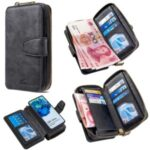 BF001 Leather Cover Zip Wallet Phone Case for Samsung Galaxy S20 Ultra – Black