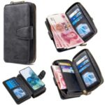 BF001 Zipper Wallet Leather Phone Case Cover Shell for Samsung Galaxy S20 Plus – Black