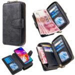 BF001 Detachable 2-in-1 Leather Zipper Wallet Cover for Samsung Galaxy A70 – Black