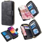 BF001 Detachable 2-in-1 Leather Zipper Wallet Phone Casing for Samsung Galaxy A50 – Black