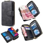 BF001 Detachable 2-in-1 Leather Zipper Wallet Protective Case for Samsung Galaxy A30/A20 – Black