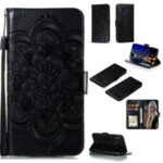 Imprint Malanda Flower Protective Wallet Stand Leather Case with Strap for Samsung Galaxy M31 – Black