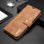 DG.MING Detachable 2-in-1 Split Leather Shell + PC Case for Samsung Galaxy M30s/M21 – Brown