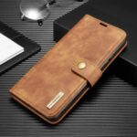DG.MING Detachable 2-in-1 Split Leather Wallet + PC Cover for Samsung Galaxy A91/S10 Lite – Brown