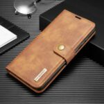 DG.MING Detachable 2-in-1 Split Leather Wallet Shell + PC Back Case for Samsung Galaxy A81 / Note 10 Lite – Brown
